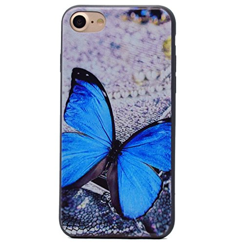 iPhone 7 Hülle,Transparent Silikon Bumper für iPhone 7,Ekakashop Ultra dünn Slim Modisch Durchsichtig Finger Muster Weiche Silikon TPU Flexible Gel Crystal Back Case Defender Protective Schutzhülle mi Blau Schmetterling