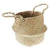 FITYLE Holzkorb faltbar Aufbewahrungskorb rund mit Griff Für Kleidung Blume Lebensmittel Obst - M