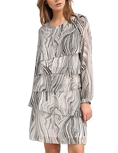 APART Fashion Damen Kleid 31782, Mehrfarbig (Taupe-Multicolor), 40