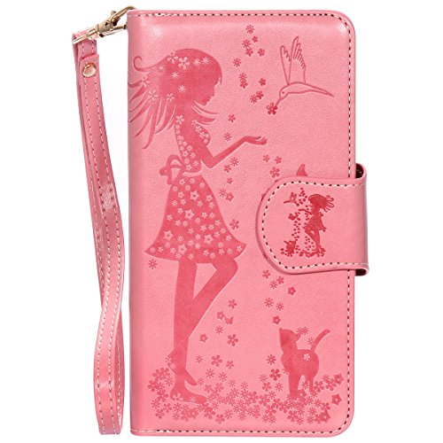 Apple iPhone 7 Plus Case Cover Wallet,Anti-scratch Cuir Dragonne Portefeuille Relief fille papillon Housse pour iPhone 7 Plus,SainCat Coque de Protection PU Leather Flip Wallet Case Cover Bumper Bling Femme et chat-rose