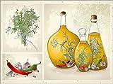 Posterlounge Leinwandbild 80 x 60 cm: Küchenkräuter Collage von Editors Choice - fertiges Wandbild, Bild auf Keilrahmen, Fertigbild auf Echter Leinwand, Leinwanddruck