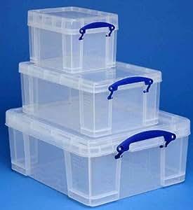REALLY USE BOX Lot de 3 boîtes de rangement 3L,9L,18L transparent incolore, recyclé