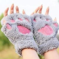 ZHANGYUGEGE Winter Frauen s/ü/ße Katze Kralle Paw Pl/üsch Handschuhe Kurze Fingerlose halben Finger Handschuhe