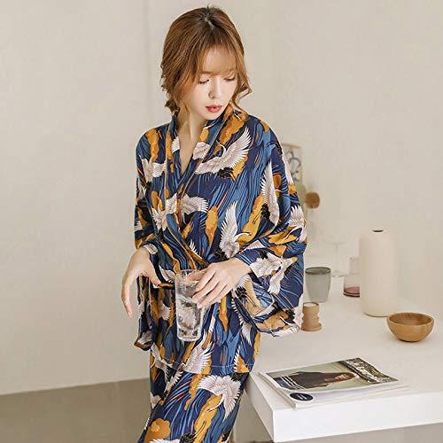 HAOLIEQUAN Women Autumn Printing Pajama Pattern Rayon Set Night Pants Long Sleeve 2 Piece Suit Paper Ladies Pajama,As Show,XL -