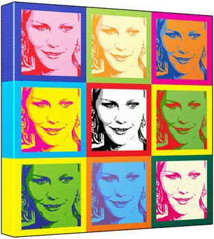 Kirsten Dunst - Pop Art Print (3-Tone; Andy Warhol's Che Guevara Style) 50 x 50 x 2 cm Large Square Deep Box Canvas