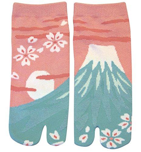 Damen Tabi Socken Zehensocken Mount Fuji Pink