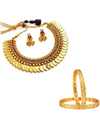 Zeneme Temple Coin Necklace And Temple Coin Gold Plated Bangles Combo Jewellery Set For Women And Girls