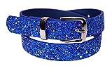 EANAGO Kindergürtel 'Eiskristall blau' für Mädchen (Kindergarten- und Grundschulkinder, 5-10 Jahre), blau Glitzer, 65 cm