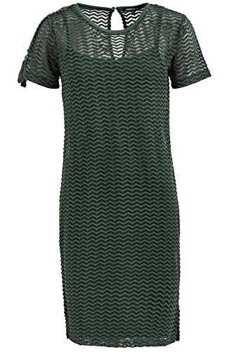 khujo Damen Midikleid DUCTA transparentes Oberkleid mit Zickzack-Muster und Unterkleid aus weichem Jersey