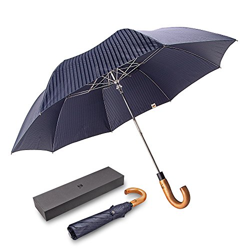 Regenschirm boy ® Taschenschirm, automatik mit 8 Edelstahl-Rippen Winddicht Regenschirm Transportabel Reiseschirm mit Gebogener Griff f¡§1r Frauen und M?nner, Streifen Blaue -