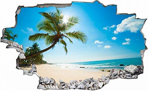 Strand Beach Plamen Meer Wandtattoo Wandsticker Wandaufkleber C0321 Größe 70 cm x 110 cm (Vinyl-keller-fenster)
