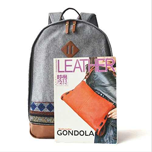 BYD - Blue Male Female zainetto backpack Bag School Bag Travel Bag PU Leather Bottom Grigio