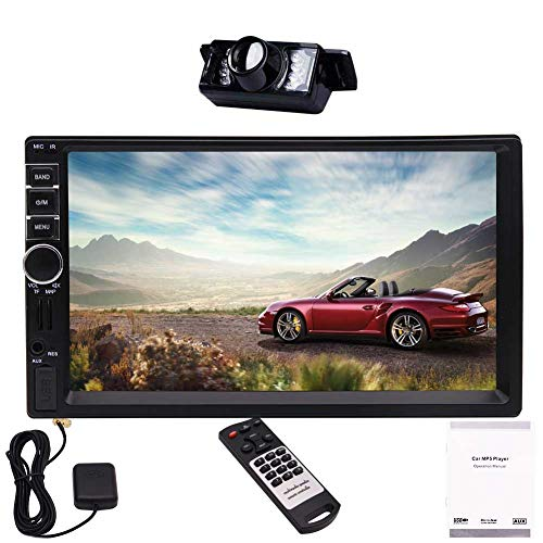 Caméra de recul Gratuit 7 Pouces Double DIN 2DIN Navigation Musique Radio FM stéréo de Voiture Bluetooth écran Tactile capacitif GPS Carte USB TF Interface utilisateur Illuminating Bouton d'éclairag