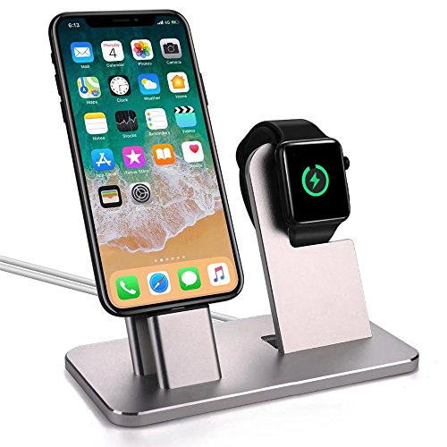 Galleria fotografica iPhone 8 Plus caricabatterie dock, Xphonew 2 in 1 Apple Watch stand iPhone ricarica dock station culla del display per iPhone x/8/8 Plus/7/7 Plus/6s/6s Plus 6/6 Plus/5S/5/se iWatch 2 3 4 42 mm & 38 mm Tutte le serie
