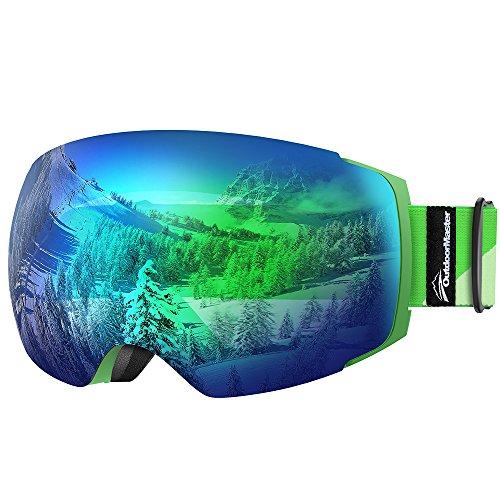 OutdoorMaster Skibrille Pro für Damen&Herren, Snowboardbrille mit magnetisch wechselsystem, OTG Schneebrille, Ski Goggles(Grüner Gurt VLT 18% Graue Gläser mit vollem REVO Grün&Schutzhülle)