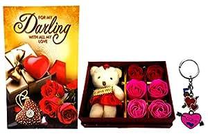 Gift For Girls - Love Greeting Card, Love Keychain & Gift Box