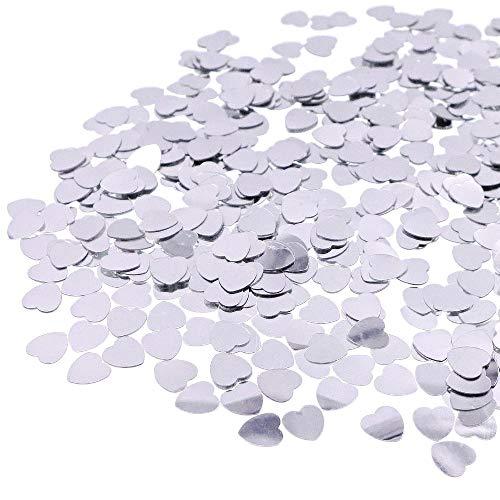 JZK® 5000 x 1cm silber Herz glitzer plastik Konfetti Tisch Confetti, Handwerk Geschenk Dekorative Zubehör, für Hochzeit Geburtstag Valentinstag Party Taufe Baby Party (silber Herz)