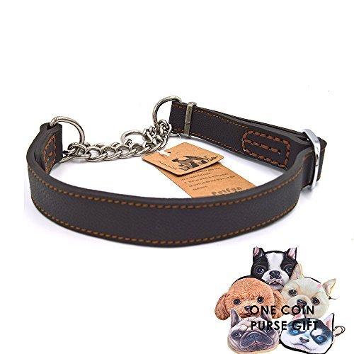 petfun Classic Einzigartiges Design Soft stabiles LEDER mit Edelstahl Kette Martingal verstellbares Halsband, schwarz und braun (Soft-martingal-kragen)