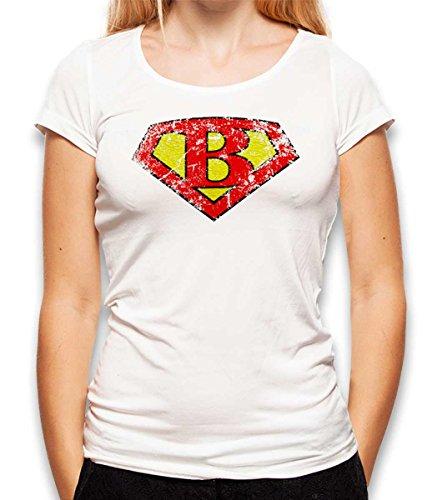 shirtminister B Buchstabe Logo Vintage Damen T-Shirt Weiss M Buchstabe B Shirt