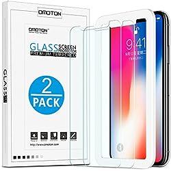 [2 Unidades] OMOTON Protector Pantalla iPhone X Cristal Templado [2.5d Borde][Herramienta de Instalación] 9H Dureza, Sin Burbujas