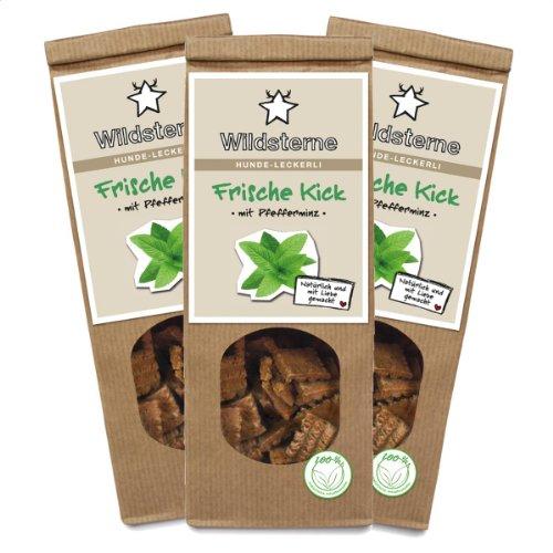 Artikelbild: Wildsterne Frische Kick mit Pfefferminz Hundeleckerli, 3er Pack (3 x 100 g)