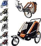 PAPILIOSHOP LEON Remorque poussette avec amortisseur pour le transport de 1 ou 2 enfants vélo roue avant pivotante pliable bébé 2 places convertible poussette jogging jogger buggy à enfant chariot bicyclette un deux
