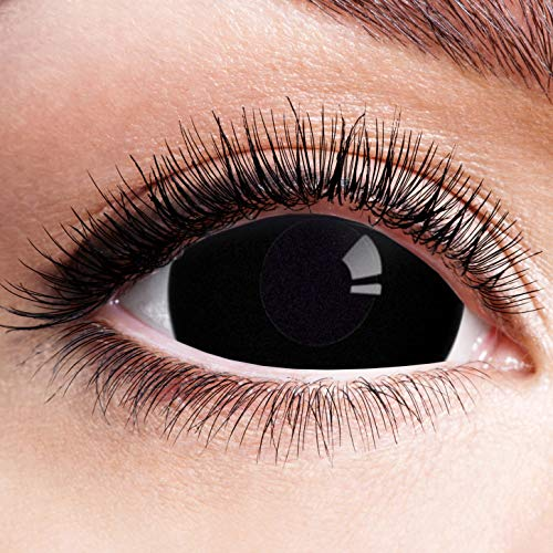 Farbige Kontaktlinsen Schwarz Motivlinsen Ohne Stärke Motiv Linsen Halloween Karneval Fasching Cosplay Anime Kostüm Mini Sclera 17mm Black Eyes Komplett Schwarze Augen Eye