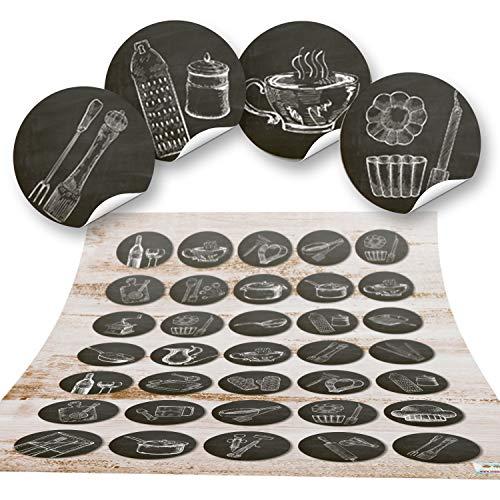 2x 35 kleine runde SCHWARZ WEISS Küchenaufkleber vintage alt Küchen-Deko Sticker Nostalgie selbstklebend Küchenutensilien Geschirr Besteck