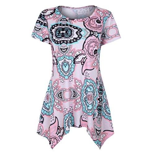 TUDUZ Sommer Damen Eegant Tops Kurzarm Swing Boho Retro Tunika Blumen Flare Tee Bluse Shirt (Rosa, S)