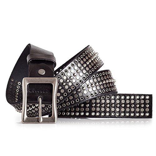 Mens Rock Studded Black Leather Belt Antique Silver Studs (44)