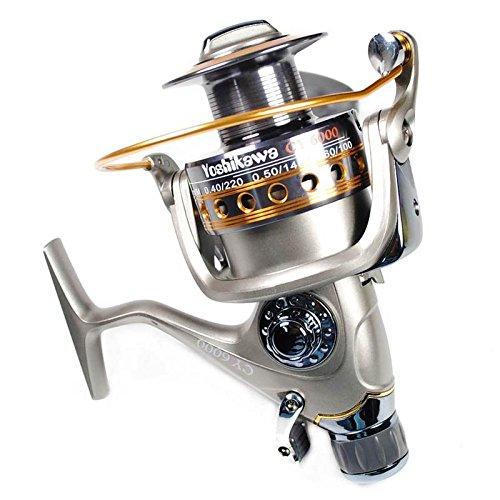 YOSHIKAWA Fishing Baitfeeder Reel Agua salada Carrete de hilado de agua dulce Mango de la bobina de aluminio 10 + 1 rodamientos de acero inoxidable 5.5: 1 3000-6000 fuerte construido