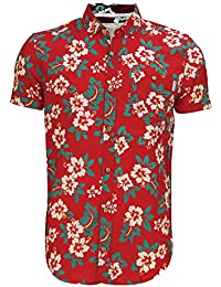 Hommes Soulstar Tiki 3 Chemise Coton Imprimé Floral Intégral Col Bouton Haut