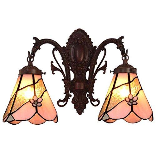 Tiffany Style Wandleuchte, Glasmalerei Wandleuchte, Wohnzimmer Schlafzimmer Gang Doppelkopf Wandleuchten yd&h -