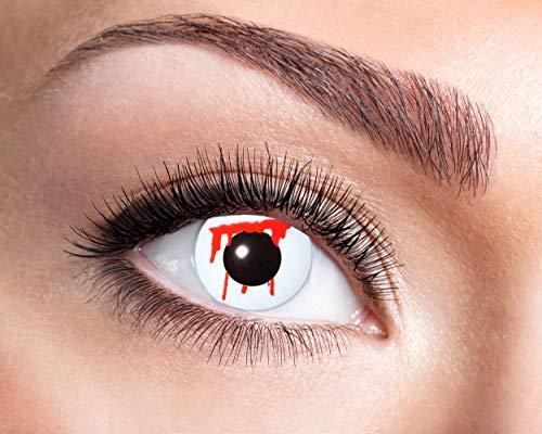 Eyecatcher - Farbige Kontaktlinsen für 12 Monate, blutunterlaufenes Auge, 2 Stück Jahreslinsen, blutunterlaufend, / BC 8.6 mm / DIA 14.5 mm (Kontaktlinsen Amazon Halloween)
