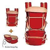 Babytrage Baby Carrier Hip Sitz Hüftgurt Multifunktionale Front Halter Baby Carrier Baby Hocker (Farbe : Dunkelrot)