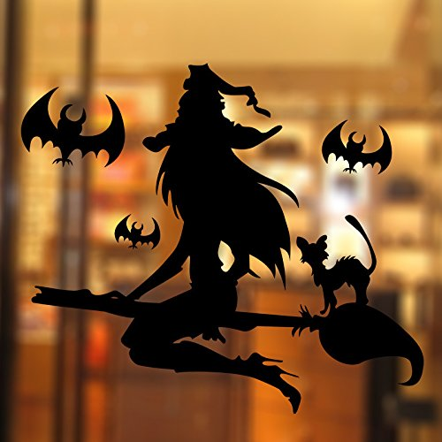 PeiTrade Halloween-Hexe-Wand-Aufkleber-Kunst-Abziehbild-Zuhause-Raum-Dekor-Büro-Wand-Wandtapete-Kunst-Aufkleber-Abziehbild-Papier-Wandbild für Hauptschlafzimmer