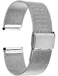 TRUMiRR 18mm Cinturino per Orologio in Acciaio Inox per Cinturino in Metallo Mesh per Huawei Orologio, ASUS ZenWatch 2Donna wi502q, Withings Activite/Acciaio/Pop, Argento