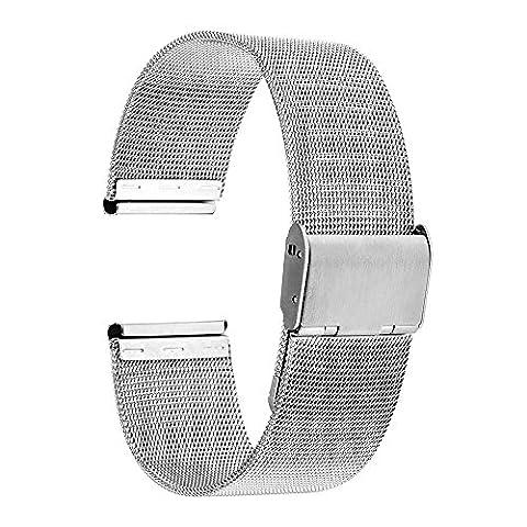 TRUMiRR 16mm Montre Band Mesh Métal Strap Stainless Watch Steel