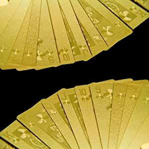 Exklusives goldenes Poker Kartenspiel in exquisiter maßgeschneiderter Holzkiste mit Klappdeckel, Spielkarten, 100% Plastik (PVC, Kunststoff) Pokerkarten – griffig - mit Goldfolie überzogen; Gold, Pokerspiel mit Goldfolie überzogen in edler Holzbox ideal für Poker, Skat, Whist, Bridge, Mau-Mau, Seven Card Stud, Five Card Stud, Texas Hold'em, Omaha Hold'em, Draw Poker, Black Jack
