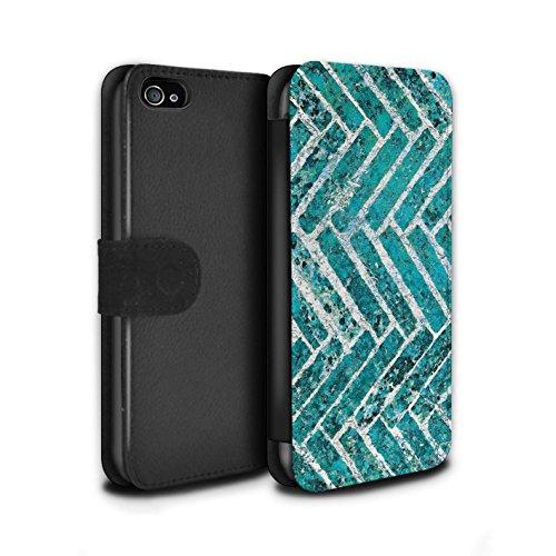 STUFF4 PU-Leder Hülle/Case/Tasche/Cover für Apple iPhone 4/4S / Verwischen/Gezähnt Muster / Teal Mode Kollektion Ziegel/Stein/Mauer