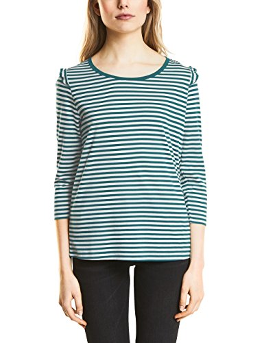 Street One T-Shirt Manches Longues Femme Mehrfarbig (Teal Green 21270)