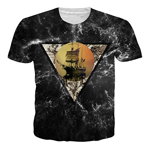 Leapparel Unisex 3D Digital Imprimé Personnalisé Manche Courte T-Shirt Personnalisé Tee-Shirts Sailing Boat