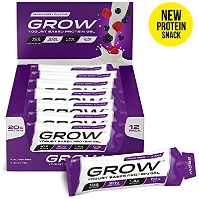 Grow Protein Bars - Revolutionary New Protein Snacks - 20g Protein Only 102 Calories & 0.1g Fat - Premium Grade Yogurt Based Protein - The Most Convenient Protein Product Available - Delicious Mixed Berry Flavour - Rapid Release Protein Supply - Low Calor