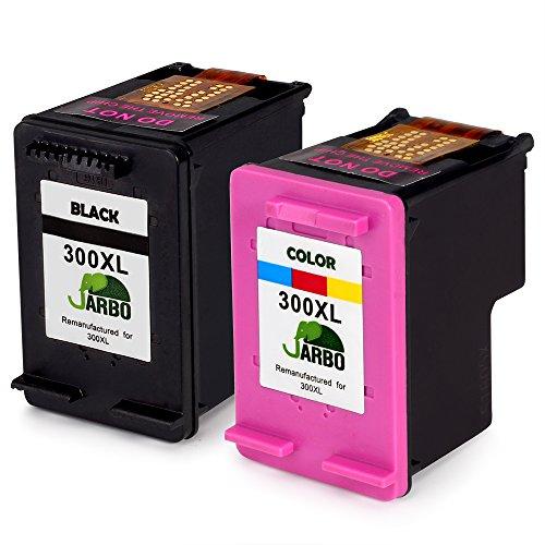 JARBO Remanufactured HP 300XL 300 Druckerpatronen Schwarz/Tri-Farbe 2er-Pack für HP DeskJet D1660 D2560 D2660 D5560 F2480 F4224 F4280 F4580, HP Envy 100 110 114 120, HP PhotoSmart C4680 C4780 C4783 C4670 C4600 C4700 (Hewlett Packard Gummi)