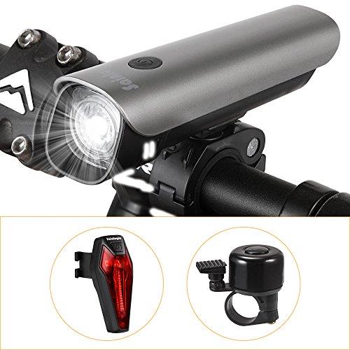 Fahrradlicht,Sainlogic StVZO Zugelassen USB Wiederaufladbare Wasserdicht Fahrradbeleuchtung Set Mit Frontlicht und Rücklicht(Mit einem Fahrrad Bell) (Led-fahrrad-beleuchtung)