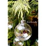 Lot de 12 boules de Noël en verre irisées, forme de sphères, décorations 6 cm