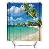 GraceFINE Duschvorhang Polyester-Liner 3D-Wasserdicht Badewanne Vorhänge Antibakteriell Badezimmer Vorhang mit Haken Strand
