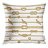jiilwkie Throw Pillow Cover Scout Rope Knots Collection Boat Sea Decorative Pillow Case Home Decor Square 18