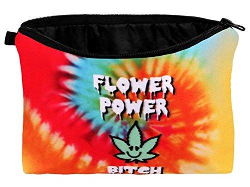 Flower Power Bitch Cannabis Hanf Kosmetiktasche Tasche bunt -