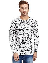LE BOURGEOIS White Printed Full Sleeve T-Shirt for Men